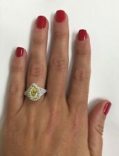Platinum Sterling Silver Yellow & White Sapphire Pear Shape Double Halo Ring