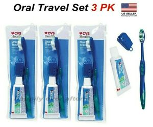 3 PK Oral Care Travel Set - Crest Tooth paste, Toothbrush & Cover, Travel Bag