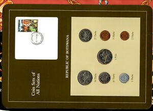 Coin Sets of All Nations Botswana 1981 & 1984 UNC Cow Stamp