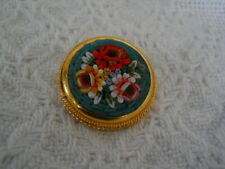 Vintage~ MIcro Mosaic Round Brooch Pin~ Gold Tone~ Italy