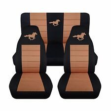 Front & Rear Black Tan Horse Seat Covers Fits Ford Mustang Convertible 1994-2004