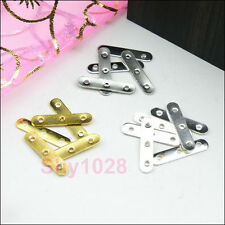 80Pcs 3-Holes Spacer Bar 3.5x20mm Silver,Gold,Dull Silver R5078