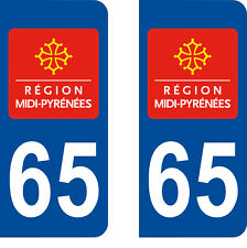 Département 65 sticker 2 autocollants style immatriculation AUTO PLAQUE