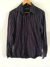 BHS Camicia Nera Viola a Righe Manica Lunga Da Uomo Taglia S < R3436