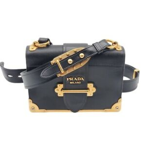 100% Authentic Prada Cahier Black Leather Shoulder Bag