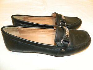 COACH Felisha Leather Black Flat Driving Loafers Moccasins Women Size10B Worn 1X