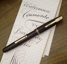 WATERMAN COMMANDO FOUNTAIN PEN 1940s, NEAR MINT BURGUNDY, XF FLEX NIB