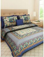 100% Cotton Hand Printed Indian Double Tapestry Bedsheet with 2 Pillow Covers AM