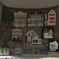 Shelia's Collectible Lot of 6 Wood Houses, Gate, 2 Trees, and 2 Ornaments