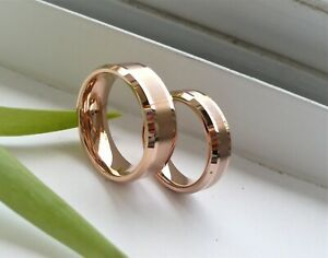 Tungsten Carbide 8&6mm His & Her IP Rose Gold Wedding Band Ring Set Sz 5-15