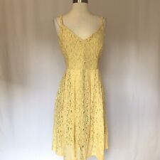 GUESS Women's Dress Size 10 Yellow Lace Sleeveless Fit and Flare Orig $118