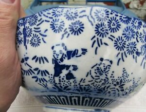 """Rare Oriental Blue & White 8"""" Bowl-'Join the Dots' Pattern of Dancing Bears -A/F"""