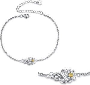 Womans Fashion Gold Daisy Silver Bracelet Wedding Jewelry Valentine'S Day Gift