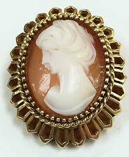 Vintage Cameo, Brooch, Solid 14K Gold Setting