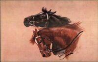 Horse Heads by Hilda Walker - TUCK Oilette #9692 c1910 Postcard