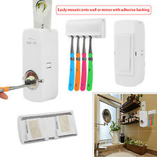 US Automatic Auto Toothpaste Dispenser +5 Toothbrush Holder Set Wall Mount Stand