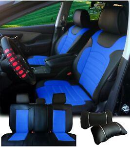 Non-Slip PU Leather Car Seats Covers Cushion Front Rear Mercedes-B 88255 Bk/Blue