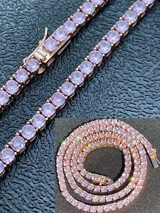 Tennis Chain Real 925 Sterling Silver 14k Rose Gold Finish Pink Diamond Necklace