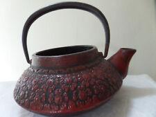 VINTAGE, JAPAN ASIAN BRASS TEA POT MARKED: BURGUNDY/RED W/NO LID EXCELLENT COND.
