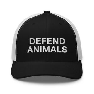 Defend Animals Vegan Animal Rights Mercy for Animals Embroidered Trucker Hat Cap