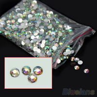1000Pcs 4mm Nail Art Flatback Crystal AB 14 Facets Resin Round Rhinestone Beads
