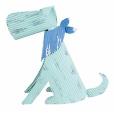 Rustic Sitting Dog Sculpture Textured Metal Puppy Blue Green