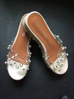 Ladies Clear Platform Slip On Wedge With Pearl Size 39 Usa 8M used once