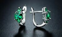 3.00 CTW Princess Cut Emerald Hoop Earrings Made with Swarovski Elements