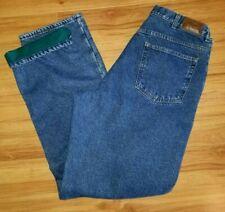 LL Bean Fleece Lined Jeans Blue Denim Warm Work Pants Size 37x36 Fits 34x36 AJ82