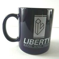 Liberty Bank And Trust Coffee Cup Mug Blue White