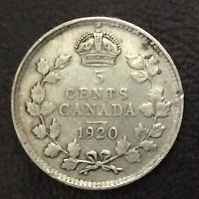 1920 Canada Five Cents Canadian Coin A4880