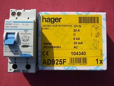 Réf AD925F OU ADC925F DISJONCTEUR DIFFERENTIEL HAGER 1P+N 25A 30mA TYPE AC NEUF