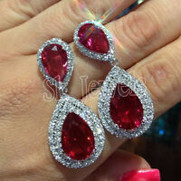 4.02ct NATURAL ROUND DIAMOND 14K SOLID WHITE GOLD RUBY WEDDING DANGLER EARRING