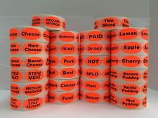 Br/Red CARNE Retail Supermarket Deli Food Packaging Stickers / 500 Labels