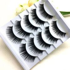 New 5 Pairs Natural Long Black Eye Lashes Handmade Thick Fake False Eyelashes