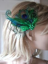 "Emerald Green Peacock Feathers Fascinator Hair Clip ""Avril"" Bridal Wedding Party"
