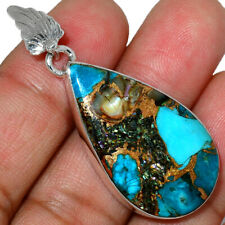 Shell In Blue Turquoise 925 Sterling Silver Pendant Jewelry AP183001