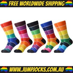 5x Pairs Of Rainbow Cotton Socks - Unisex, Bright *FREE WORLDWIDE SHIPPING*