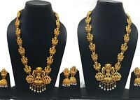 South Indian Gold Plated Long Bridal Temple Necklace Earring Fashion Jewelry Set