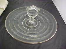 Vintage Platter Tidbit Tray Glass Ringed Banded Handled SiIver Rim Good Cond