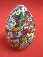 Antique Italian Murano Millefiori Art Glass Egg Paperweight