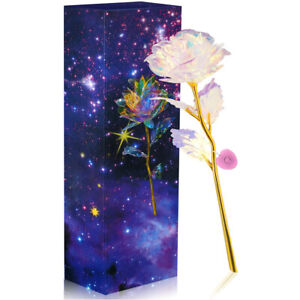 24K Gold Foil Enchanted Eternal Rose Flower Glass LED Light Xmas Valentines Gift