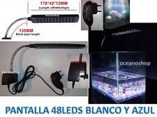 LUZ ACUARIO 48 LED PANTALLA Blanco y Azul Pecera Gambario Bettera ALTO BRILLO