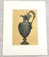 1857 Antico Stampa Francese Argento Repouse Vino Brocca Ornamentale Argenteria