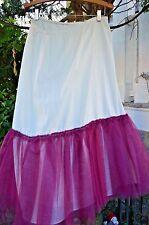 """Vintage Cotton and Tulle Half Slip Elastic Waist Fits Waist 30"""" to 34"""" Handmade"""