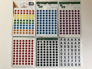 Self Adhesive Label Stickers - Letters, Numbers, Assorted Coloured Circles