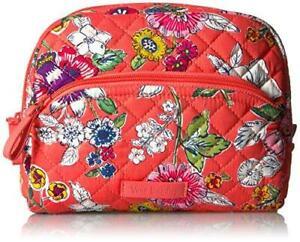 VERA BRADLEY~Iconic Medium Zip Cosmetic Bag~CORAL FLORAL~BNWT!