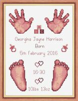 "Dusky Pink Baby Girl Birth Sampler, Hands & Feet Cross Stitch Kit 6""x8"" 16 Count"