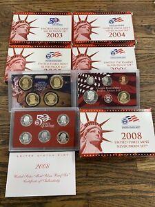 (5) 2003 2004 2005 2006 2008 US MINT SILVER PROOF SET W/ ORIG BOX, COA OGP