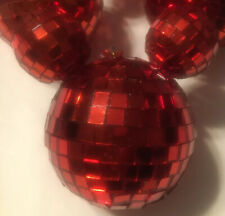 Disney Christmas Ornament Mickey Mouse Head Mirrored Disco Ball Red